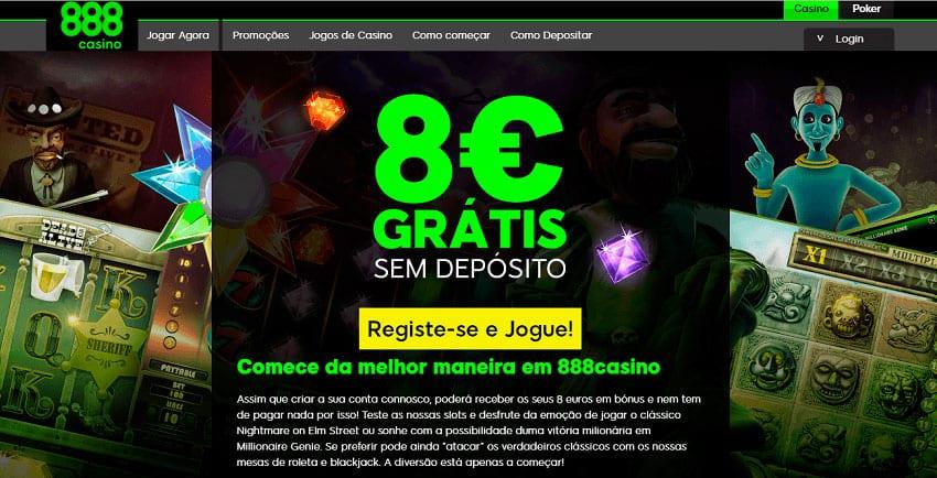 888 Casino Portugal oferece 8 euros grátis, sem depósito!
