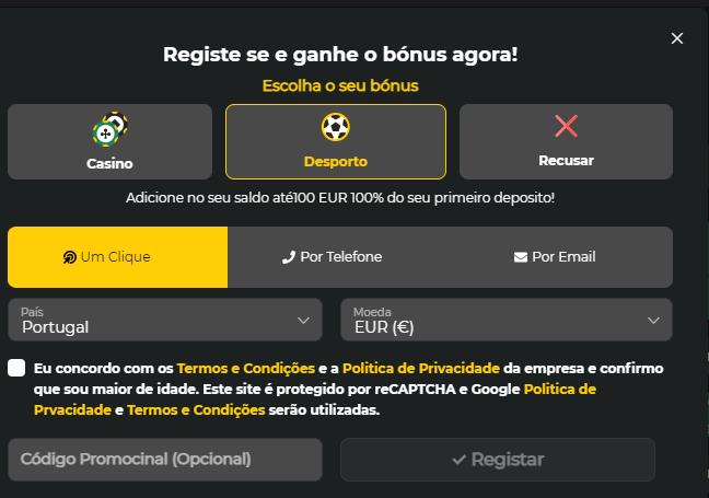Registo na Bet Winner Portugal