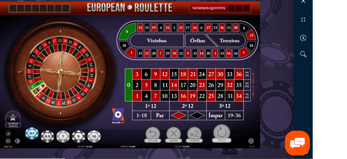 Jogue roleta na Moosh Casino