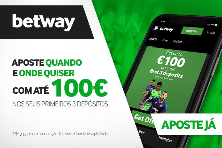 Betway Bónus para apostas desportivas: Ganhe até 100€ nos primeiros 3 depósitos