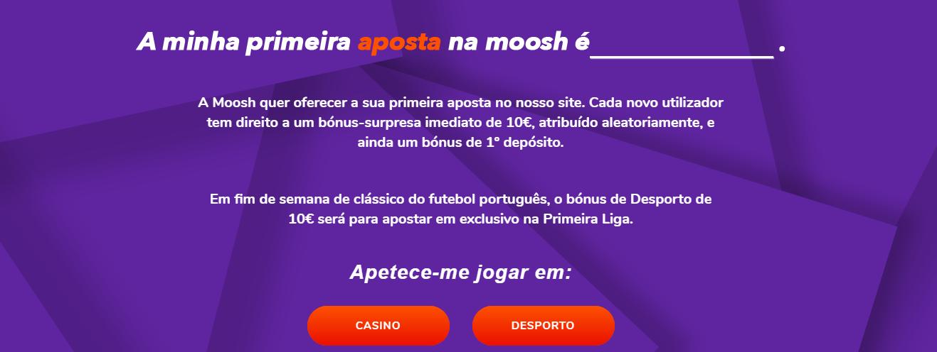 Código promocional Moosh | 10€ sem depósito