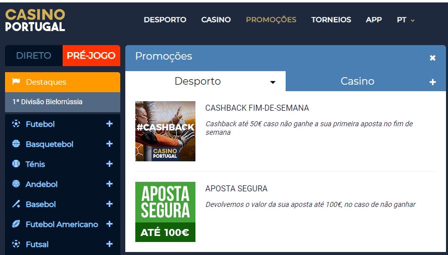 Código promocional Casino Portugal para apostas desportivas