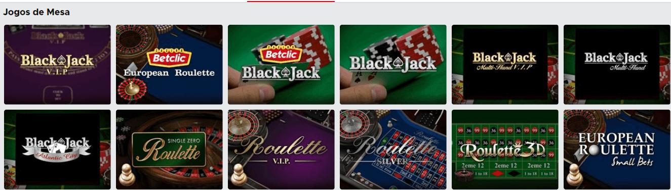 Jogos de mesa Betclic Casino