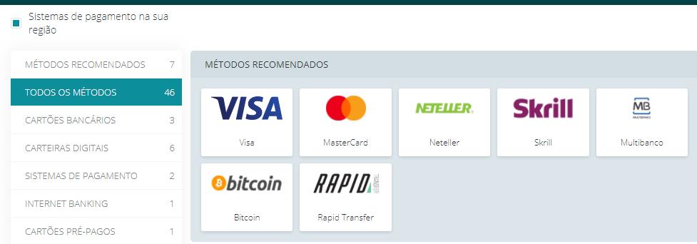 22bet com vários métodos de pagamentos