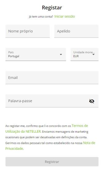 Registo na Neteller 2 - Casas de Apostas em Portugal com Neteller