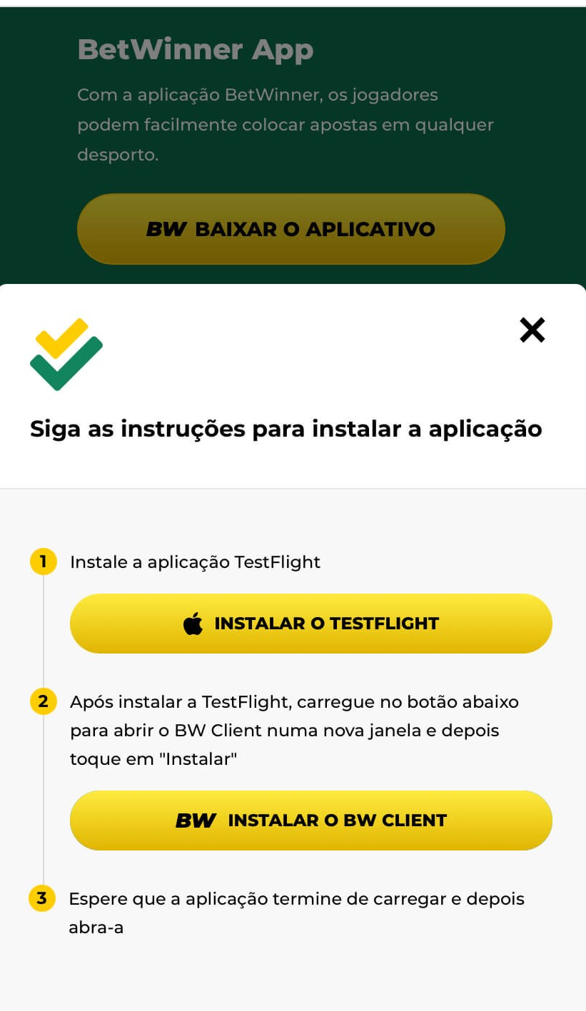 Jogue na Betwinner app IOS