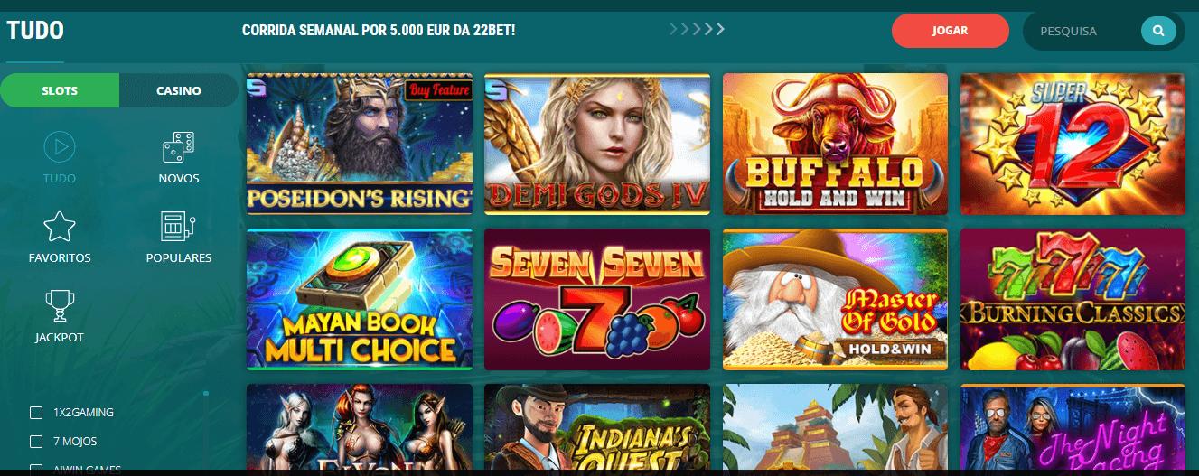 Jogue nas slots da 22bet casino